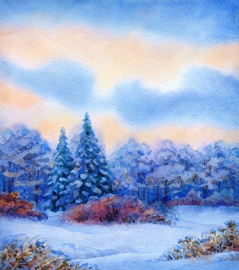 与安静的日落的水彩背景在冬天森林 库存例证