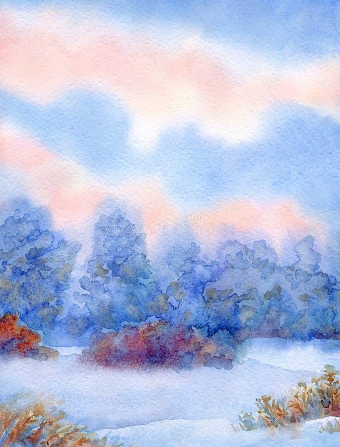 与安静的日落的水彩背景在冬天森林 皇族释放例证
