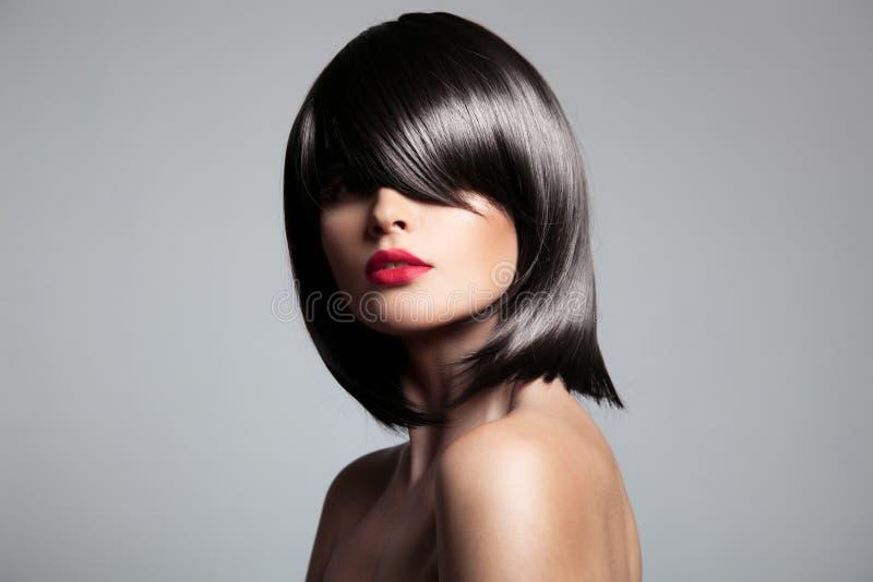 与完善的光滑的头发的美好的深色的模型 库存图片