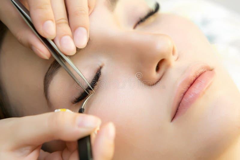 与完善的新鲜的皮肤和长的睫毛的秀丽模型 免版税库存图片