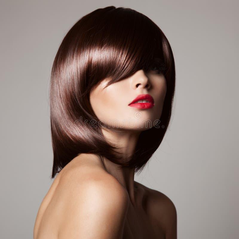 与完善的长的光滑的棕色头发的秀丽模型 库存图片