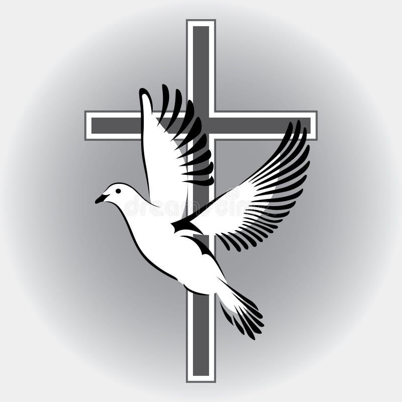 与宗教十字架的标志的鸠飞行 库存例证
