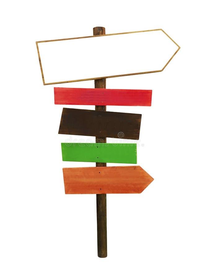 与定向箭头的木标志 图库摄影