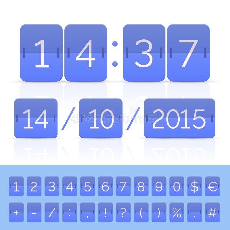 与定时器的蓝色平的轻碰日历在白色 向量例证