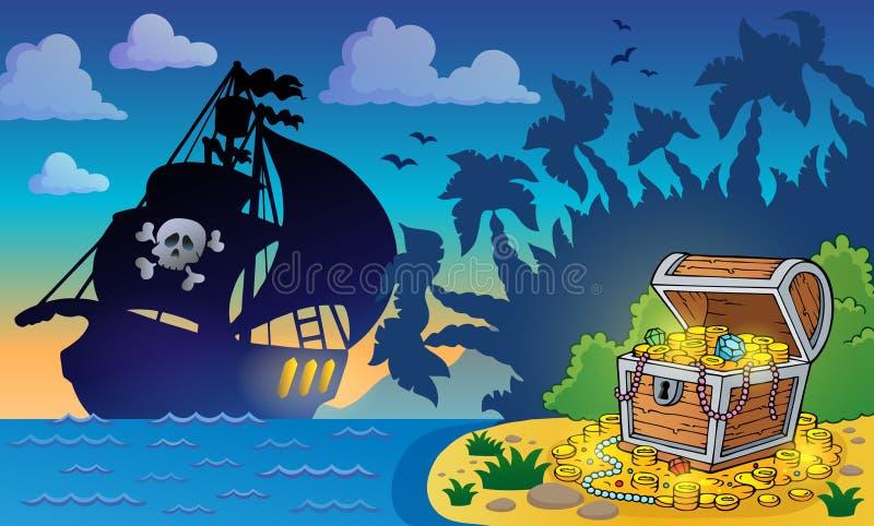 与宝物箱6的海盗题材 向量例证