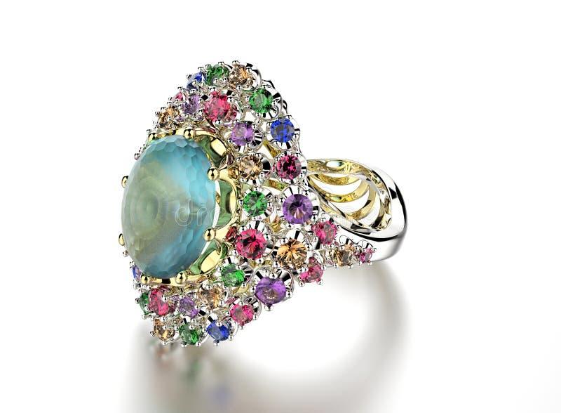 与宝石另外颜色的圆环 免版税库存照片
