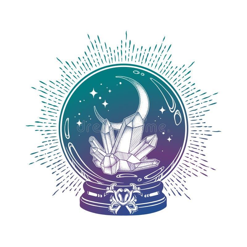 与宝石和月牙月亮线艺术和小点工作的手拉的不可思议的水晶球 Boho别致的纹身花刺、海报、挂毯或者法坛面纱 库存例证