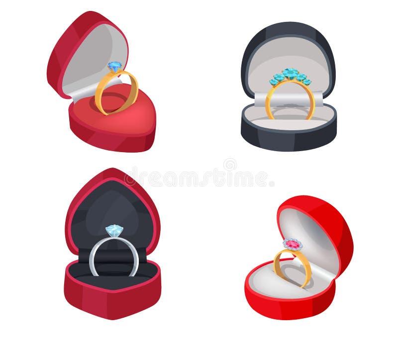 与宝石的四个圆环在礼物盒 向量例证