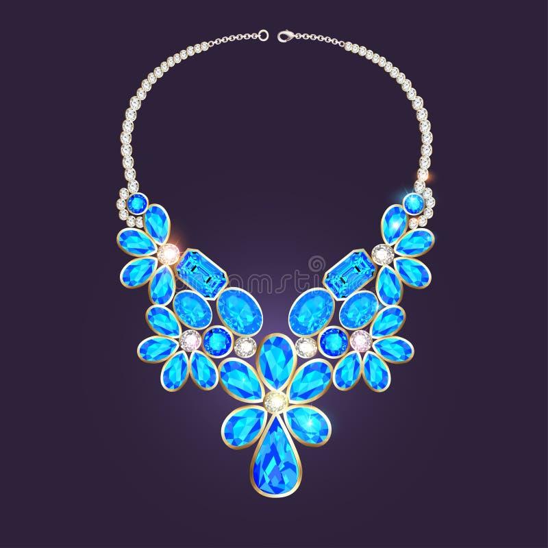 与宝石的妇女的项链 向量例证