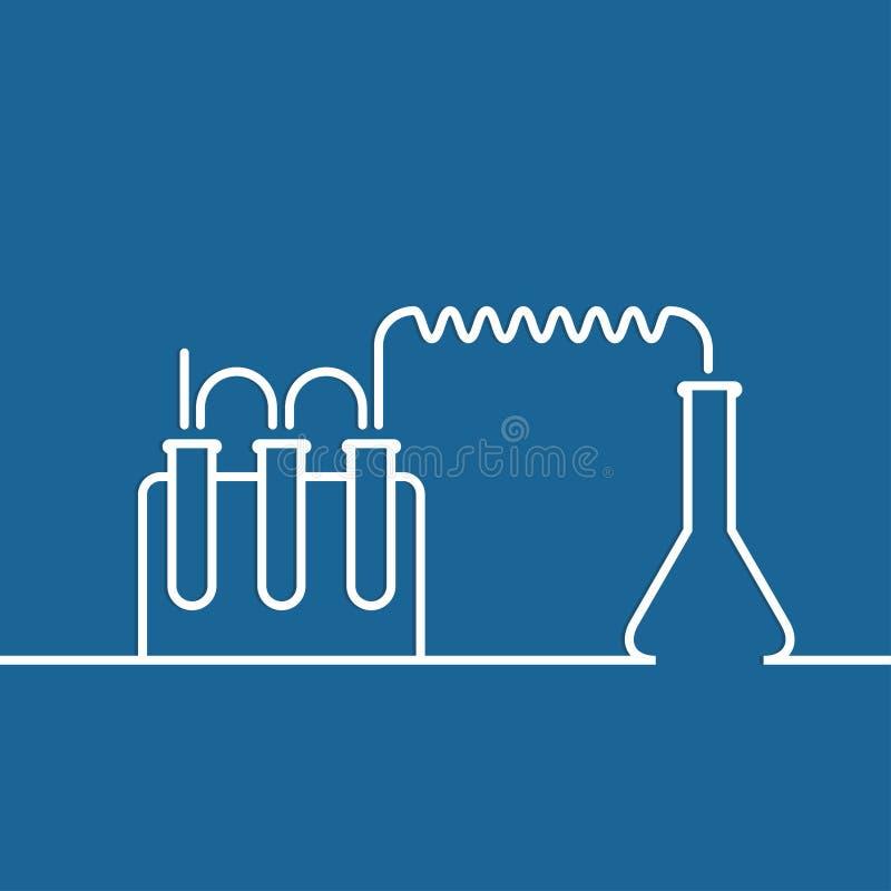 与实验室试验和研究设备的化学 库存例证