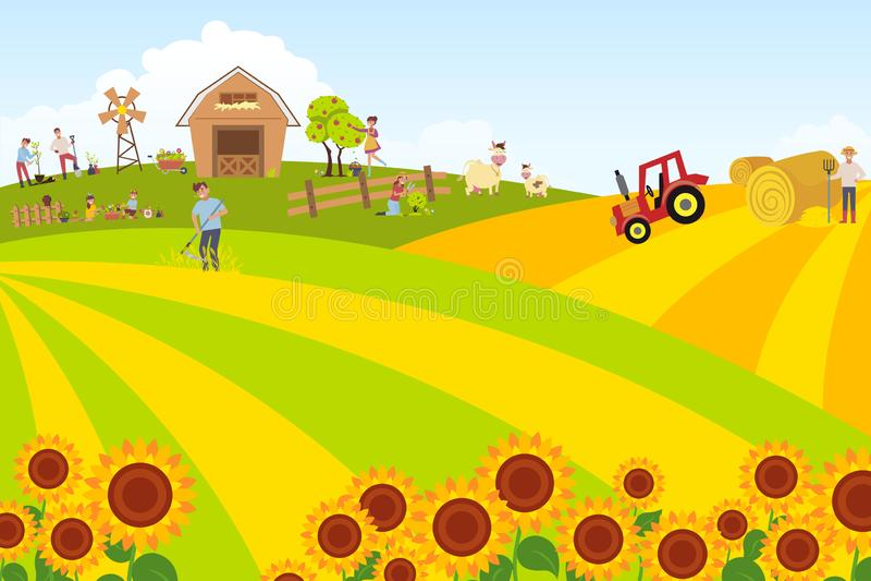 与宠物和谷仓的夏天风景 家畜和一套农夫和花匠 暑假本质上 皇族释放例证