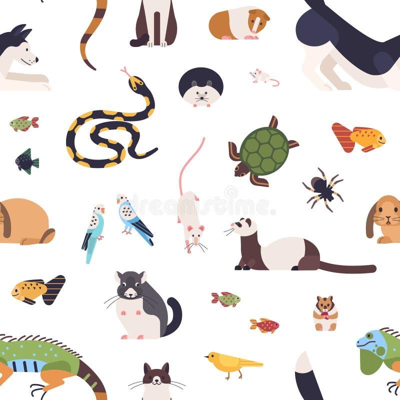 与宠物的无缝的样式在白色背景 与逗人喜爱的动画片家畜-哺乳动物,鸟,鱼的背景 库存例证