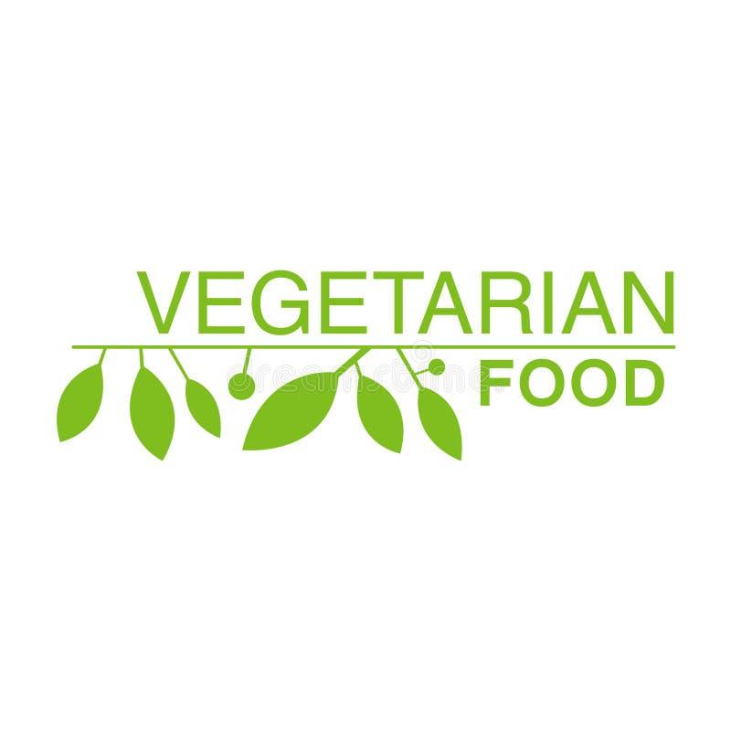 与宣传健康生活方式和Eco产品的叶子的素食主义者自然食物绿色商标设计模板 库存例证
