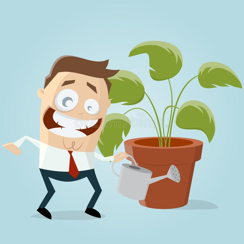 与室内植物的滑稽的商人 皇族释放例证