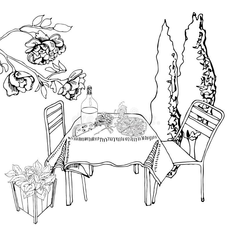 与室外午餐的单色场面 手拉的墨水保险开关元素 食物、容器植物和家具在剪影样式 向量例证