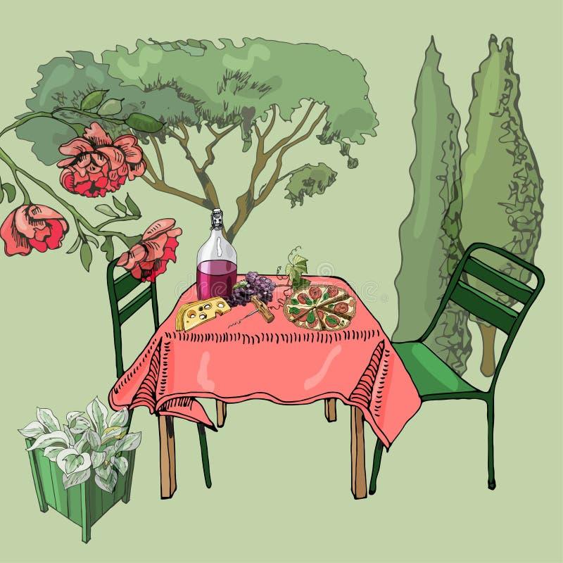 与室外午餐的场面 手拉和色的保险开关对象 食物、容器植物和家具在剪影样式 向量例证