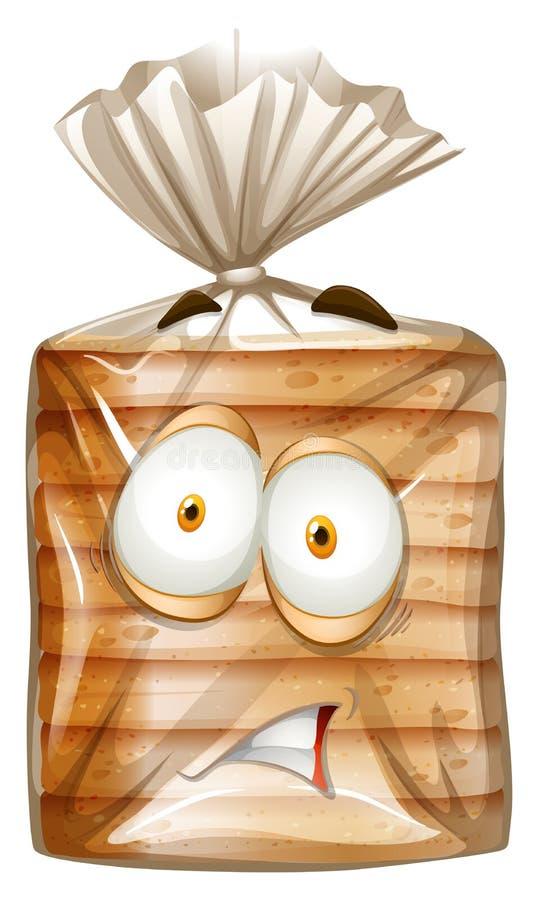 与害怕的面孔的面包包裹 库存例证