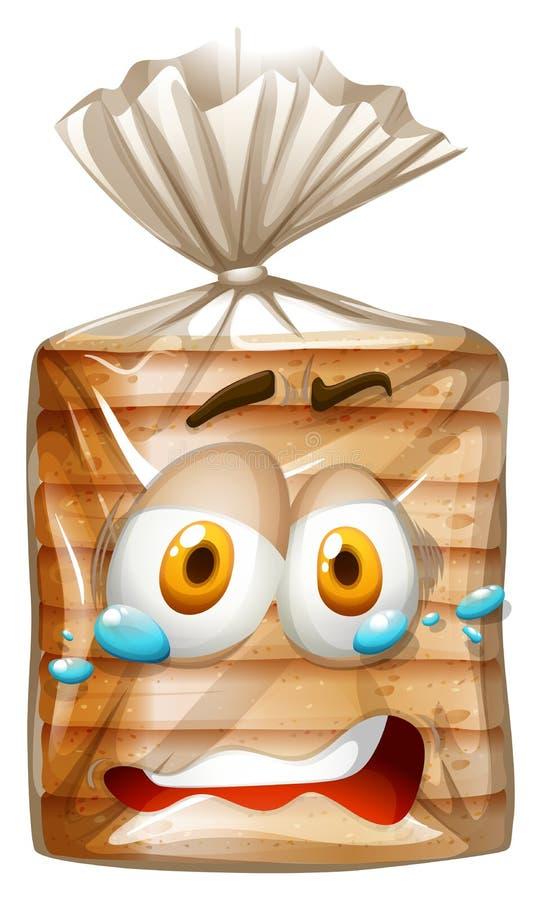 与害怕的面孔的面包包裹 皇族释放例证