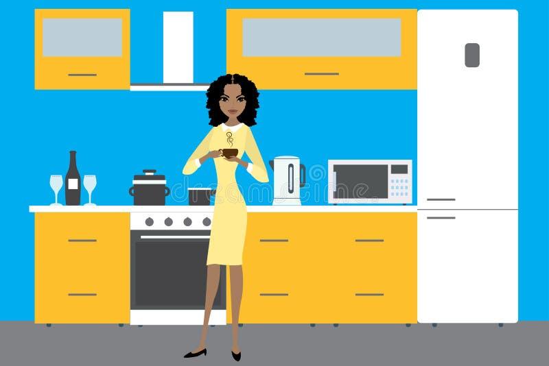 与家具、器物、设备和非洲人上午的厨房内部 向量例证