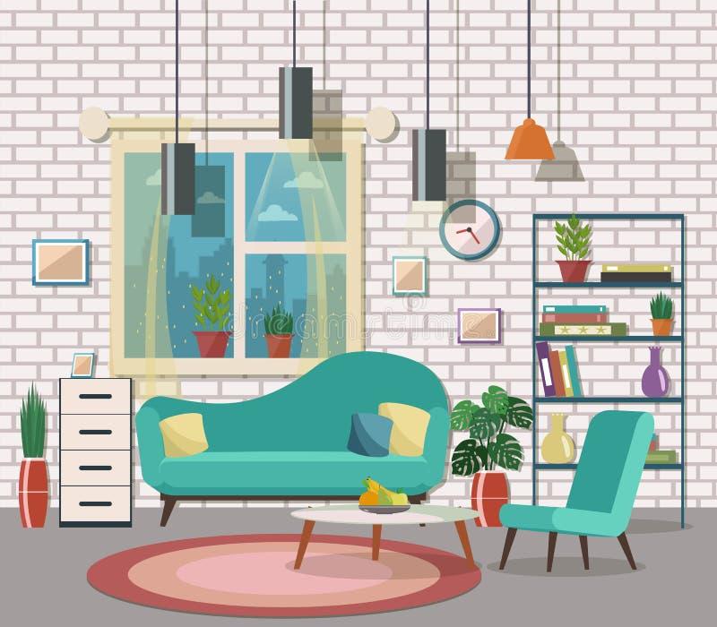 与家具和壁炉的舒适客厅内部 平的des 库存例证