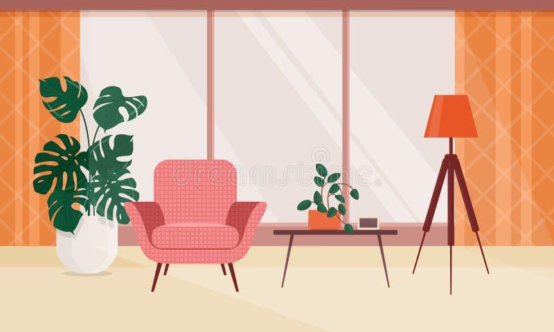 与家具和室内植物的客厅内部 库存例证
