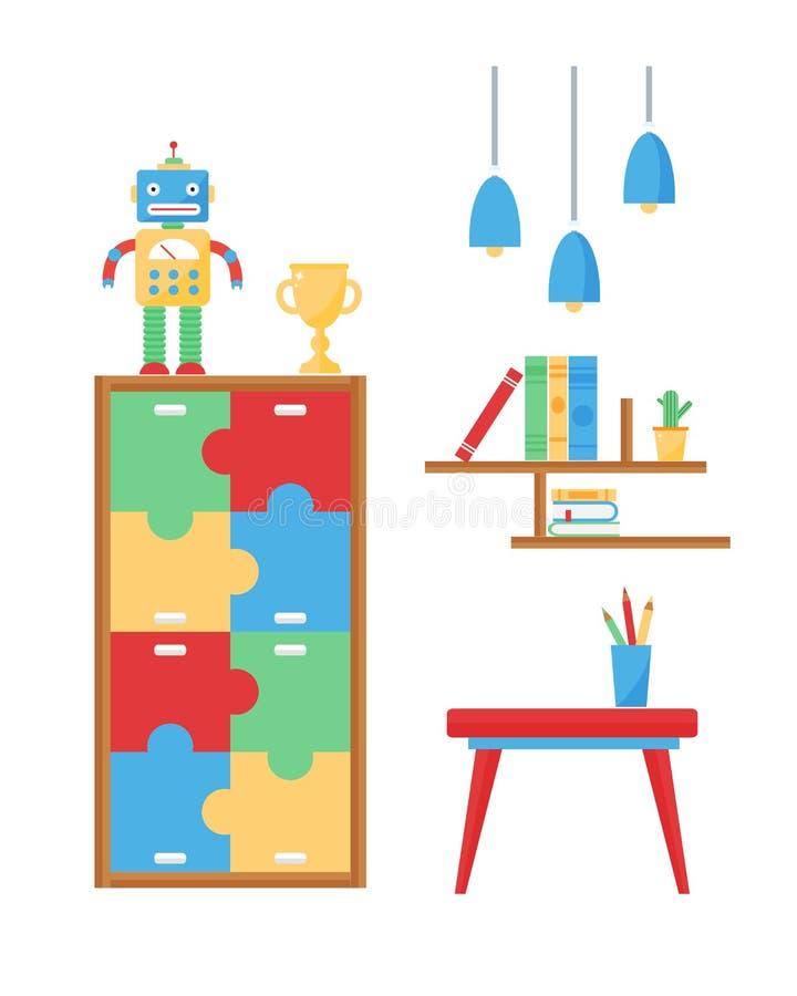 与家具和玩具传染媒介的舒适的舒适婴孩室装饰儿童卧室内部 库存例证