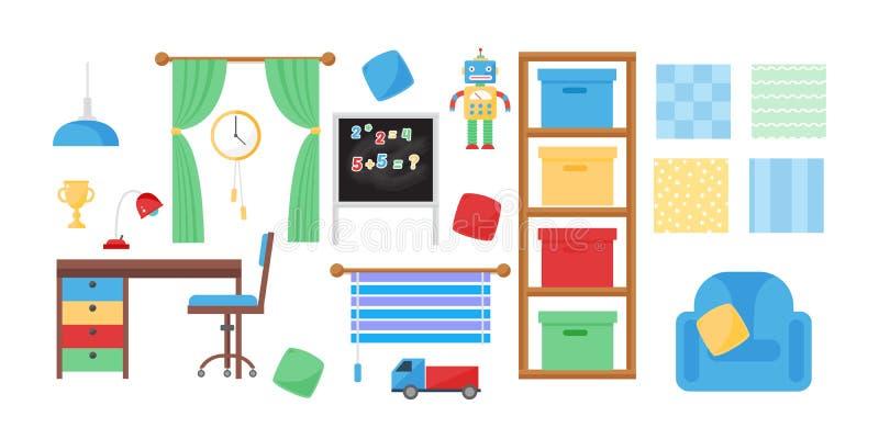 与家具和玩具传染媒介的舒适的舒适婴孩室装饰儿童卧室内部 皇族释放例证