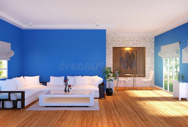 与家具和蓝色空的墙壁的现代客厅内部 皇族释放例证