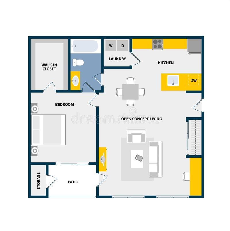与家具的传染媒介楼面布置图顶视图 库存照片