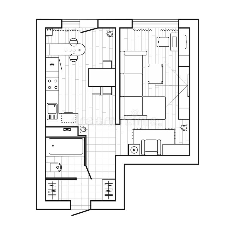 与家具的公寓计划 楼面布置图,稀薄的线象集合 在顶视图的室内设计simbols 也corel凹道例证向量 向量例证