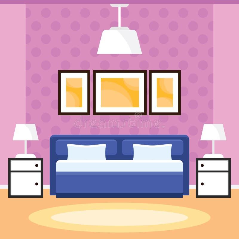 与家具的卧室内部 库存图片
