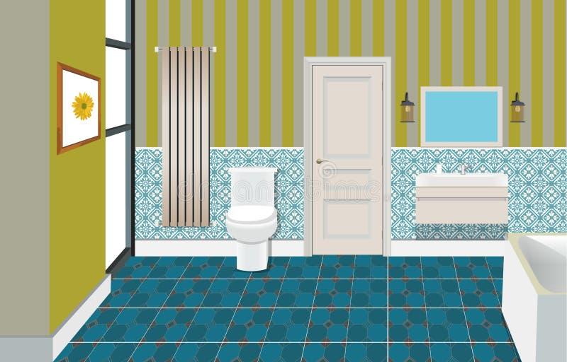 与家具的卫生间内部背景 卫生间舒适设计光现代软件 卫生间例证 库存例证