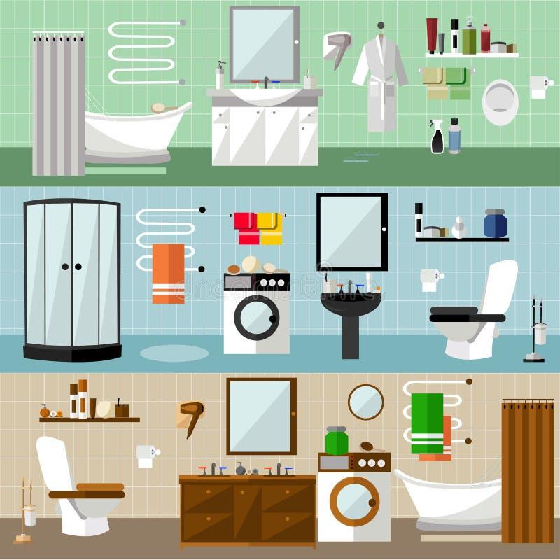 与家具的卫生间内部 在平的样式的传染媒介例证 设计元素,浴缸,洗衣机,阵雨小卧室 向量例证