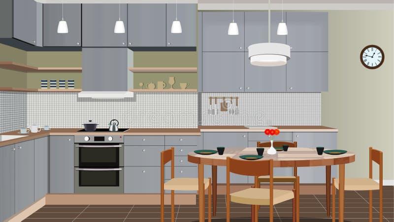 与家具的厨房内部背景 现代厨房设计  厨房例证 皇族释放例证