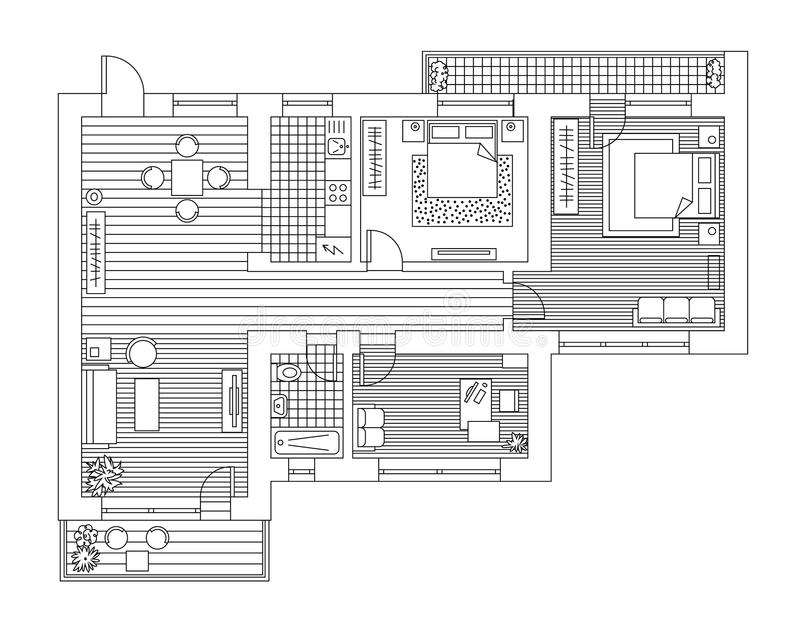 与家具的建筑学计划在顶视图 书五颜六色的彩图例证 向量例证