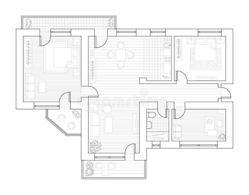 与家具的建筑学计划在顶视图 书五颜六色的彩图例证 库存例证