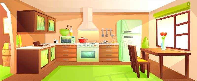 与家具的现代厨房内部 有敞篷的设计室和火炉和微波和水槽和冰箱 库存例证