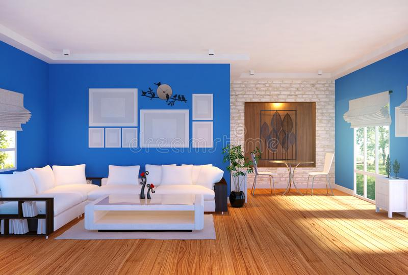 与家具的现代客厅内部和在墙壁上的空的照片框架 皇族释放例证
