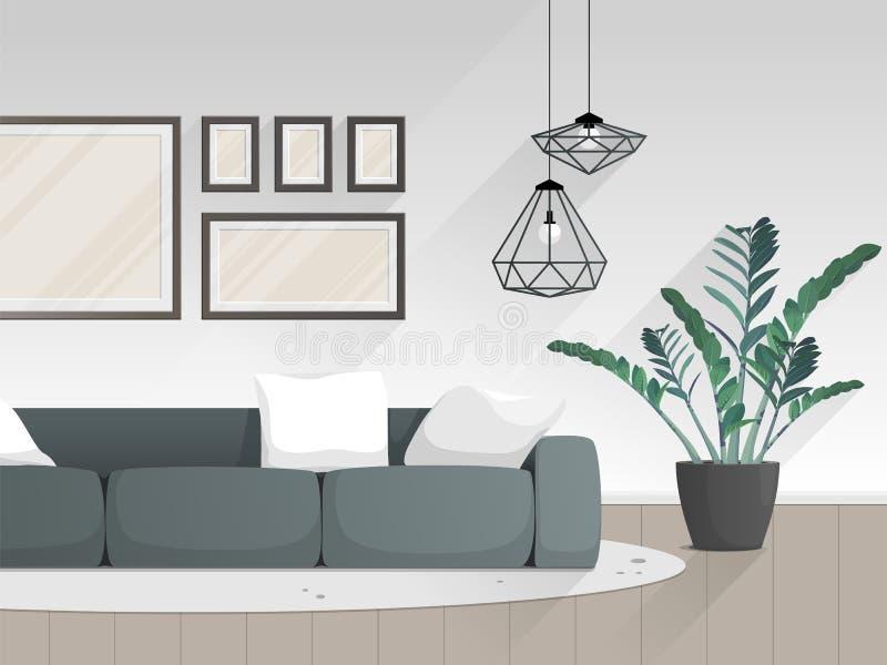与家具的现代客厅内部 r 向量例证