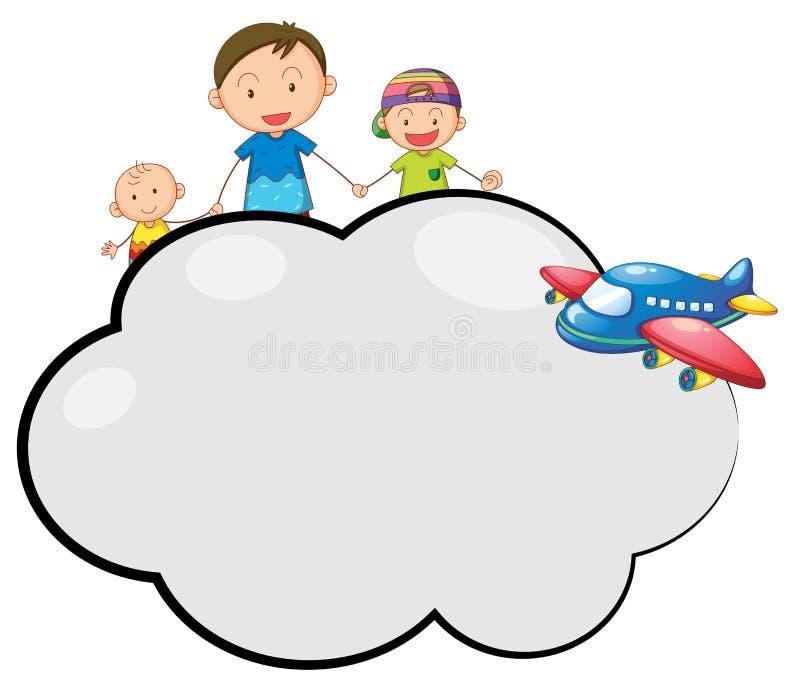 与家庭和飞机的空的云彩呼出 库存例证