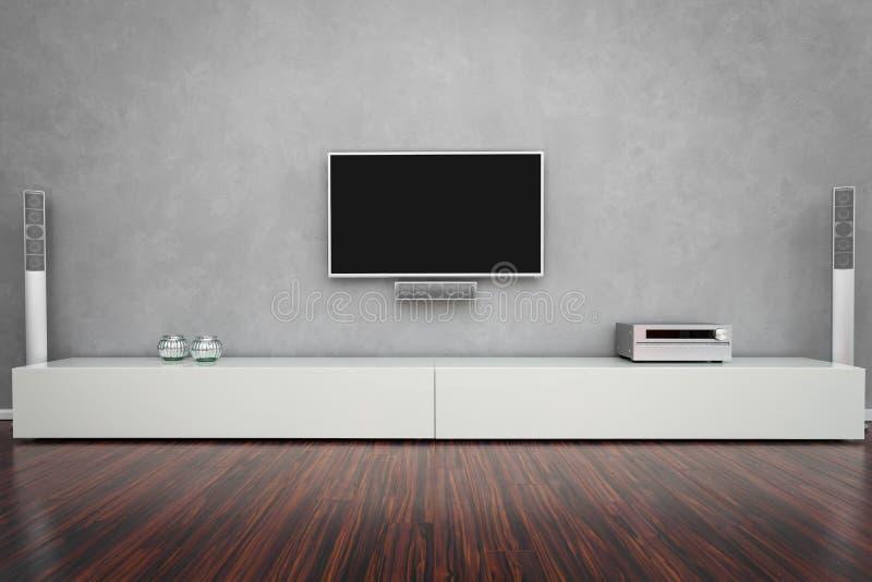 有电视的现代客厅 免版税库存照片