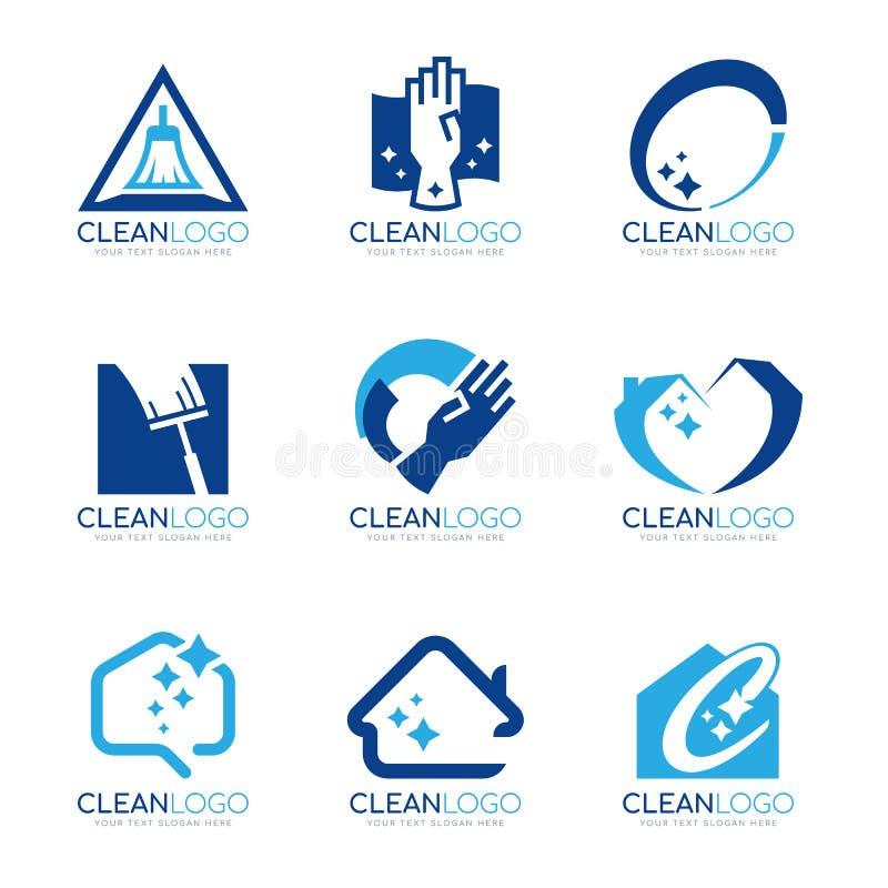 与家庭清洁的蓝色干净的商标和亮光轻的标志导航布景 库存例证