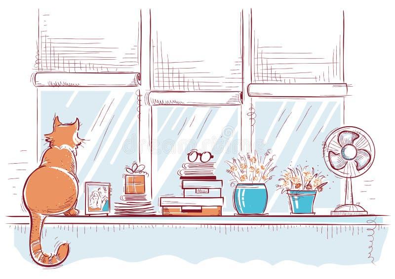 与家庭爱对象和逗人喜爱的猫的窗台 手拉的颜色 向量例证