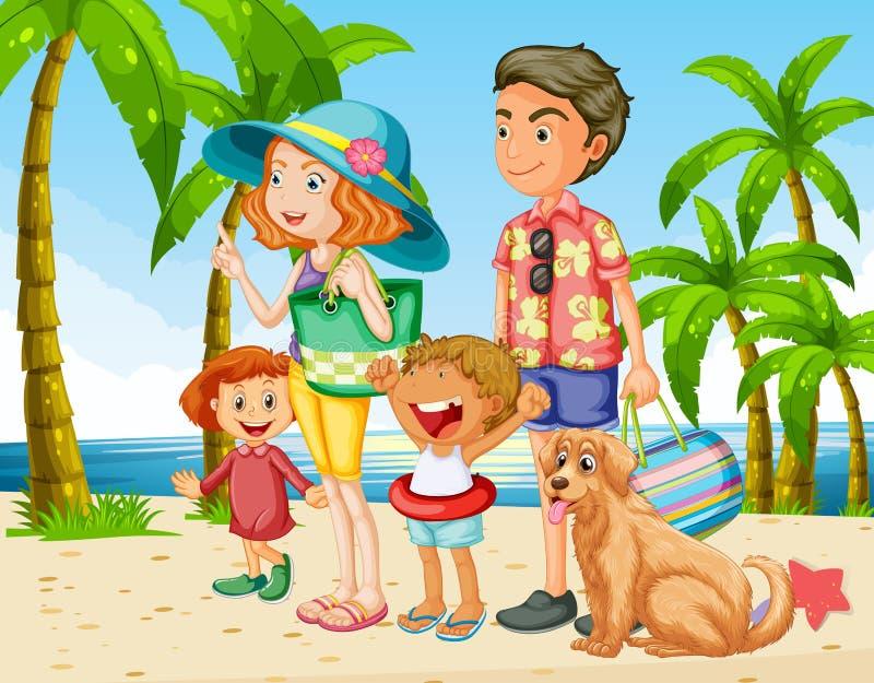 与家庭的暑假在海滩 皇族释放例证