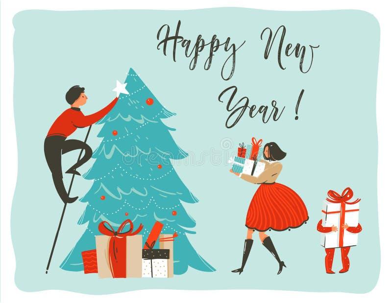 与家庭的逗人喜爱的例证的手拉的传染媒介摘要乐趣圣诞快乐时间动画片卡片海报模板 向量例证