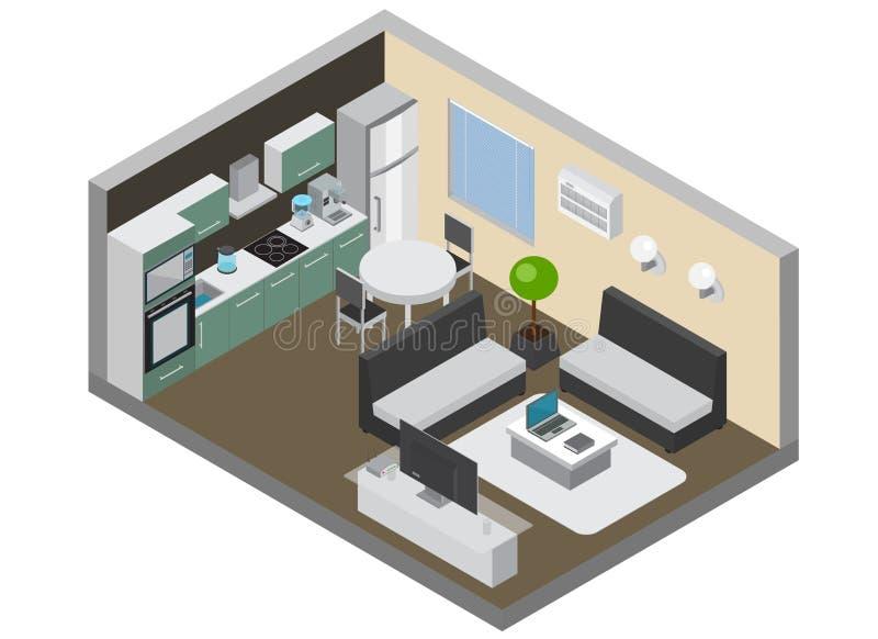 与家电的家庭内部 库存例证