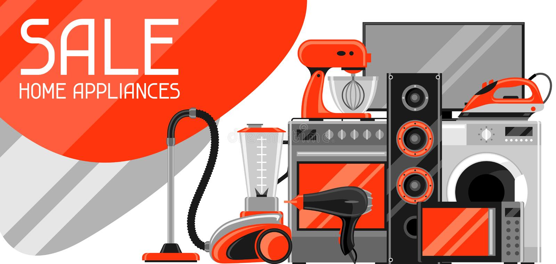 与家电的销售横幅 购物和广告飞行物的家庭项目 库存例证