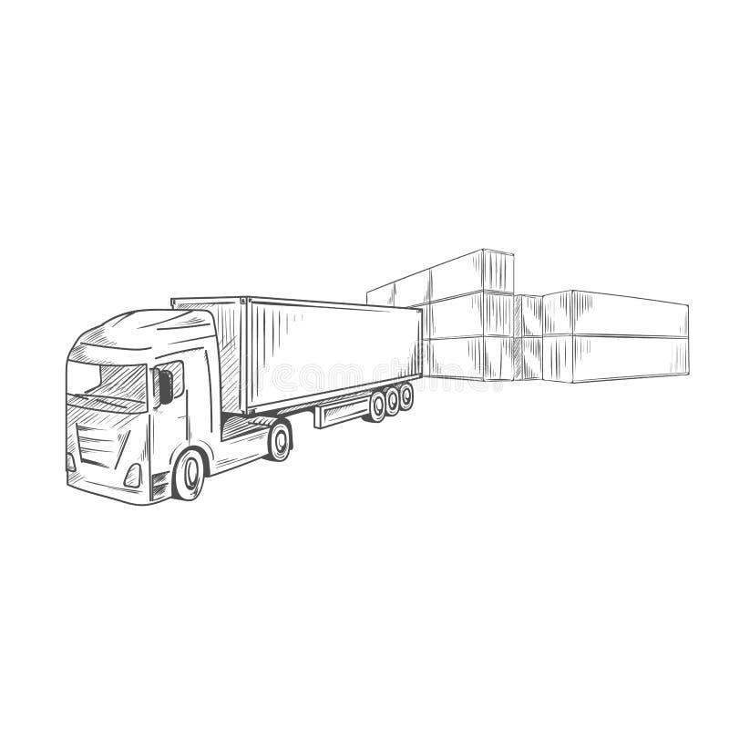 与容器卡车的后勤学概略标志 库存例证