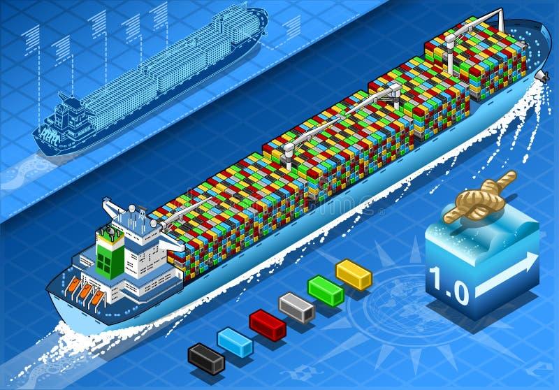 与容器的等量货船在背面图的航海 库存例证