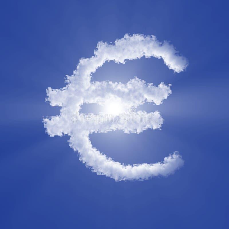 与容量光的欧元云彩标志在天空蔚蓝和太阳 ??3d?? 向量例证